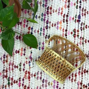Vintage Miniature Wicker Rattan Chair Plant Stand